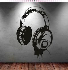 Headphones Music DJ Wall Stickers Wall ART Decal Stickers | eBay