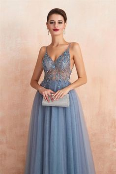 Backless Tulle Beaded Prom Dresses Party Dresses with Spaghetti Straps – LaRovias Split Prom Dresses, Straps Prom Dresses, Prom Dresses For Teens, Beaded Prom Dress, Prom Dresses Blue, Prom Party Dresses, Party Gowns, Quinceanera Dresses, Dance Dresses