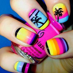 Neon Tropical Nails With Palm Trees