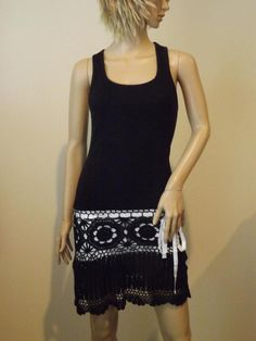 Victoria Secret Black Racerback Tank Sleeveless Crochet Dress XS Moda Int'l. #VictoriasSecret