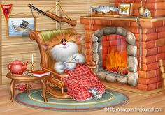 cute cat by fireplace