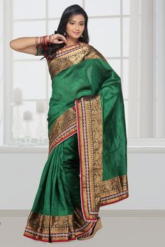 Jailakshmi Sarees is one of the leading manufacturers and exporters of ghicha silk jacquarred with attached uppada temple border pallu that are available in a variety of attractive designs and are reasonably priced.