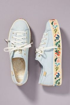 Keds x Rifle Paper Co. Rosalie Embroidered Triple Kick Sneakers Keds x Rifle Paper Co. Summer Sneakers, Slip On Sneakers, Summer Shoes, Sneakers Women, Summer Sandals, White Sneakers, Shoes Sneakers, Women's Shoes, Hot Shoes