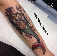 Traditional mermaid tattoo skull color ink