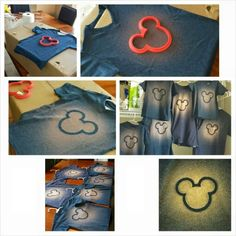 Mickey T -Shirts  Its just bleach in a spray bottle!   You have to put cardboard on the inside of the shirt so it doesnt seep through, and whatever you use for your stencil has to stay put-but each shirt only took like 4-5 sprays of bleach mist-let it work on taking out the color for like 10mins, then switch it to a hanger to dry.   Once air-dried throw in the clothes dryer for 15mins to knock off any bleach dust residue, then rinse well with water.  Hang and let dry again, then wash as…