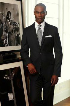 Men's Grey Suit, Black Dress Shirt, Black Leather Oxford Shoes ...
