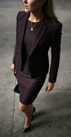 Workwear Wardrobe Essentials 2017 //  Classic burgundy sheath dress + tailored jacket, black tote bag, stiletto pumps + gold hoop earrings {Jimmy Choo, Hugo Boss, professional attire, office style staples, classic suit}