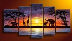 Hand painted Sun purple grassland elephant deer landscape home Decor Oil Painting on canvas 5pcs/set artwork painted with frame