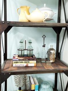 Styled Bookshelves in Britany and Danielle's Kitchen