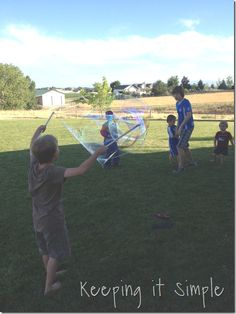Keeping it Simple: big bubble wand.  Makes huge bubbles and is a great activity for kids!