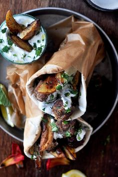 lamb meatball pitas with mint tzatziki