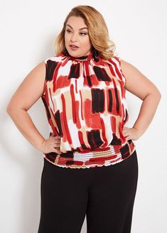 abae97e8931 Ashley Stewart Smocked Abstract Blouse