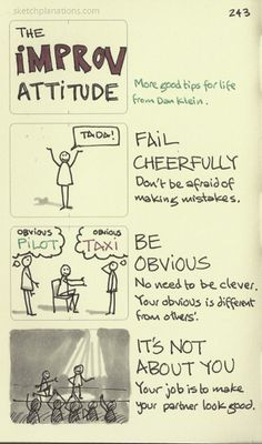 The improv attitude. Fail cheerfully. Be obvious. It's not about you. Dan Klein is my improv guru having had the fortune to learn from him a couple of times. Thanks Dan. And, as usual, improv tips tend to extend as good practice beyond improv.