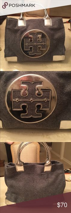Tory Burch Grey Flannel Tote Tory Burch grey flannel large tote with metallic trim. Minimal scuffing on the metallic areas Tory Burch Bags Totes