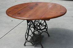 Pine Drop Leaf Table on Antique Sewing Machine Base