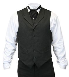 Steampunk Mens Gray Cotton Blend Solid Notch Collar Dress Vest   Gothic   Pirate   LARP   Cosplay   Retro   Vampire    Callahan Vest - Charcoal