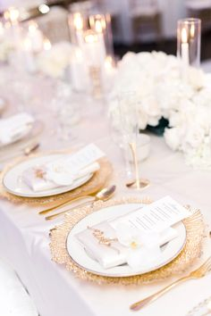 Blush, White & Gold Placesetting // Blush & White Luxe Miami Wedding via TheELD…. Gold Wedding Centerpieces, Wedding Reception Decorations, Floral Centerpieces, Graduation Centerpiece, Quinceanera Centerpieces, Candle Centerpieces, Flower Arrangements, White And Gold Wedding Themes, Wedding White