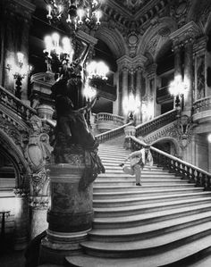 hedda-hopper:    Paris, 1960: Gene Kelly dancing on the steps of the grand staircase of the Paris Opera, during preparations for his jazz ballet, Pas de Dieux.