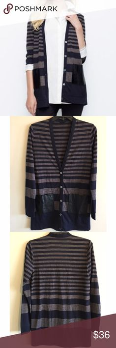 "Ann Taylor Striped V Neck Long Cardigan Ann Taylor Striped V neck Cardigan with faux leather pockets. Measures from pit to pit 20""/ length 26"". I did not find any inside tags to know material content. NO TRADES Ann Taylor Sweaters Cardigans"