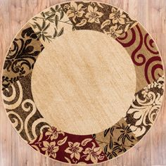 """Well Woven Patchwork Damask Beige Red Area Rug Plush 5' 3"""" Round"""