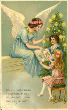 old christmas new year posted in 1923 postcard angel engel children reading boy girl silver embossed name print germany