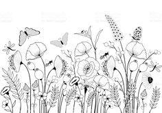 Karte mit wilden Blumen und Schmetterlinge Lizenzfreies vektor illustration