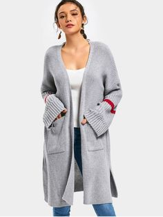 Side Slit Open Front Cardigan with Pockets - GRAY ONE SIZE