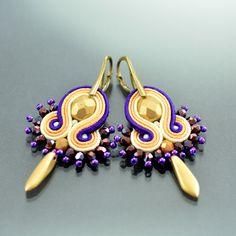 Small Violet Creamy Soutache Earrings Ikan Todak, Gold Peach Dangle Earrings, Soutache Jewelry, Small Gold Peach Soutache Earrings, Oriental by OzdobyZiemi on Etsy
