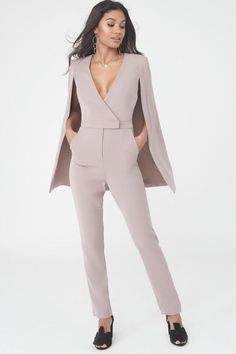 Collarless Cape Jumpsuit Wedding Pants, Dresses To Wear To A Wedding, Suit Fashion, Fashion Pants, Fashion Outfits, Cape Jumpsuit, Corporate Outfits, Amazing Wedding Dress, Long Jumpsuits