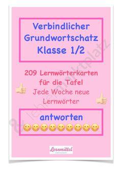 Verbindlicher Grundwortschatz Klasse 1/2 Lernwörter Tafelkarten - Seite 1