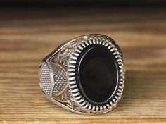 925 K Sterling Silver Man Ring Black Onyx 10 US Size $33.00