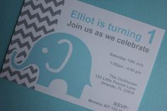 Elephant Invitations with Envelope by MyPrettyLittleParty 1st Birthday Party Invitations, 1st Birthday Parties, Rsvp, Envelope, Elephant, Thing 1, Unique Jewelry, Handmade Gifts, My Love