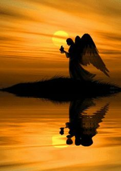 Angel silhouette in the golden sunset over the water. Dark Angels, Angels Among Us, Angels And Demons, Witch Room, I Believe In Angels, Ange Demon, Angel Pictures, Angels In Heaven, Heavenly Angels