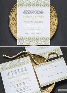 | 1920's | Gatsby | Old Hollywood | Vintage | Invitations | Art Deco | Wedding Theme