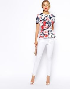 Image 4 ofASOS Floral Peplum Top With Seam Detail in Scuba