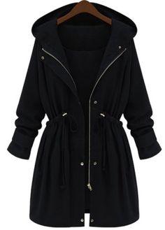 Stylish Long Sleeve Drawstring Hooded Coat For Women