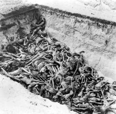Bergen Belsen, Germany, Corpses in a mass grave, after the liberation of the camp, April 1945.