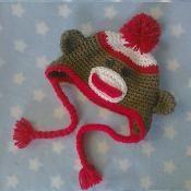 Sock Monkey Crochet baby hat Pattern - via @Craftsy