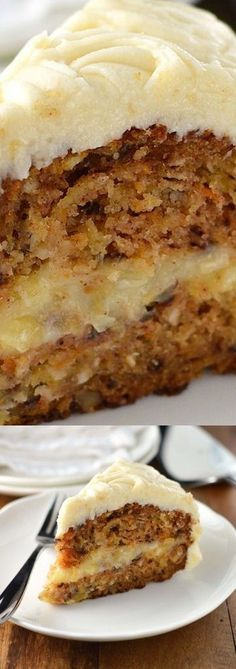 Carrot Cake with creamy pineapple filling and cream cheese frosting - Dessert Recipes Brownie Desserts, No Bake Desserts, Just Desserts, Delicious Desserts, Dessert Recipes, Yummy Food, Frosting Recipes, Recipes Dinner, Salad Recipes