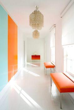 lisa perry designer | hamptos white and orange entrance