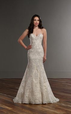 787 Strapless lace fit and flare wedding dress by Martina Liana
