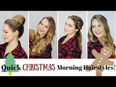 5 Quick and Easy Christmas Morning Hairstyles! - YouTube