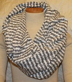 Great gift for music teacher.. Sheet Music Infinity Scarf in Black and White. $20.00, via Etsy.