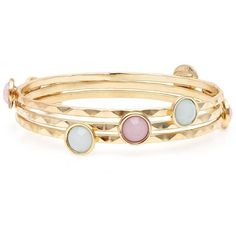 3 Pack Gold Pastel Stone Bangles (€6,97) found on Polyvore featuring jewelry, bracelets, gold bangles jewelry, hinged bracelet, gold hinged bangle, yellow gold jewelry and bracelet bangle