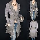 Trendy Gray Ruffled Floral Applique Tiered Hem Cardigan Long Sweater Jacket
