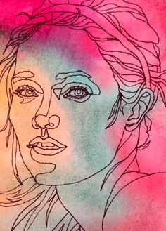 AFTER HER WORKOUT - An Original Artwork - Ink Drawing on Abstract Watercolor Painting - One Continuous Contour Line of a Face. $45.00, via Etsy.