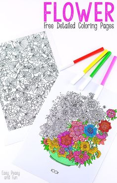 15 free adult coloring pages so you can color without spending a dime. No coloring pencils on hand? Break our your kids crayons if you have to and remember to relax and have fun with these free printable adult coloring sheets Coloring Pages For Grown Ups, Detailed Coloring Pages, Free Adult Coloring Pages, Free Coloring Sheets, Colouring Pages, Coloring Books, Flower Coloring Sheets, Printable Flower Coloring Pages, Easy Peasy