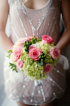 Great Gatsby Wedding Inspiration- Roses, hydrangea and feather bouquet