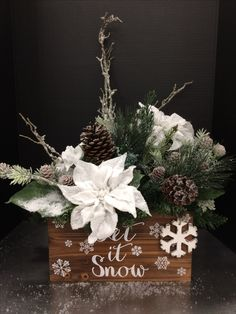 Large Snowy Poinsettia Christmas Box 2016 by Andrea
