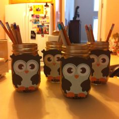 Spray paint mason jars & decorate! Great to go on desks for pencil holders or to hold make up brushes.